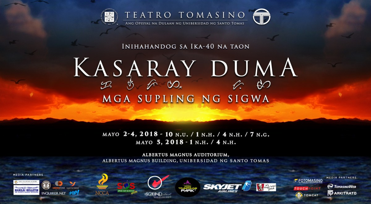 "Teatro Tomasino presents ""Kasaray Duma"" this May 2018"